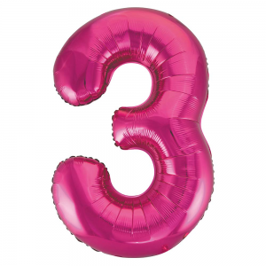"Pink Number 3 Foil Balloon - 34"" Inflated"