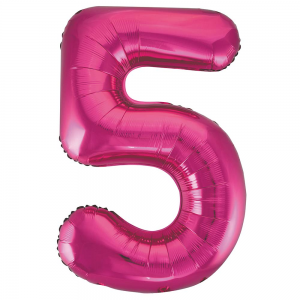 "Pink Number 5 Foil Balloon - 34"" Inflated"