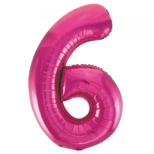 "Pink Number 6 Foil Balloon - 34"" Inflated"