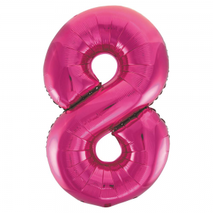 "Pink Number 8 Foil Balloon - 34"" Inflated"