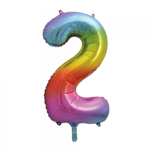 "Rainbow Number 2 Foil Balloon - 34"" Inflated"
