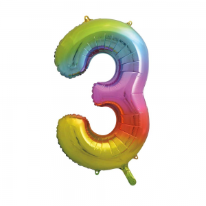"Rainbow Number 3 Foil Balloon - 34"" Inflated"