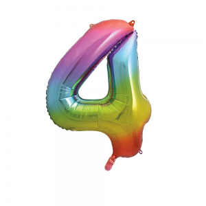 "Rainbow Number 4 Foil Balloon - 34"" Inflated"