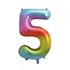 "Rainbow Number 5 Foil Balloon - 34"" Inflated"