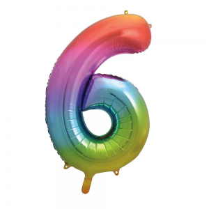 "Rainbow Number 6 Foil Balloon - 34"" Inflated"