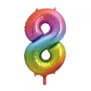 "Rainbow Number 8 Foil Balloon - 34"" Inflated"