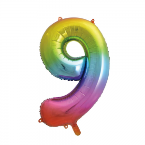 "Rainbow Number 9 Foil Balloon - 34"" Inflated"