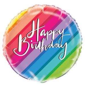 "Rainbow Strips Happy Birthday Balloon - 18"" Inflated"