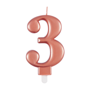 Rose Gold Metallic Number 3 Birthday Candle
