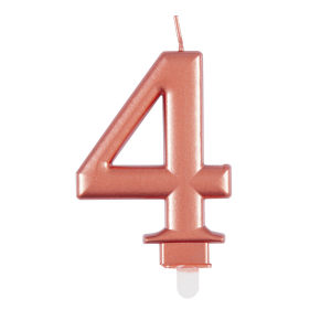 Rose Gold Metallic Number 4 Birthday Candle
