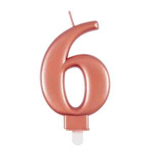 Rose Gold Metallic Number 6 Birthday Candle