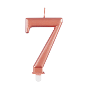 Rose Gold Metallic Number 7 Birthday Candle