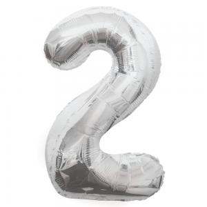 "Silver Number 2 Foil Balloon - 34"" Inflated"