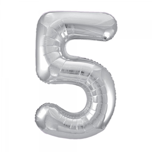 "Silver Number 5 Foil Balloon - 34"" Inflated"