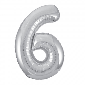 "Silver Number 6 Foil Balloon - 34"" Inflated"