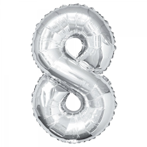 "Silver Number 8 Foil Balloon - 34"" Inflated"