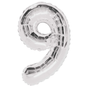 "Silver Number 9 Foil Balloon - 34"" Inflated"